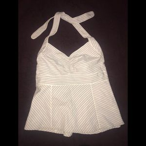 Tommy Hilfiger Gray & White Striped Halter M NWT!